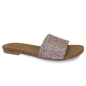 New Women's Pink Multi Glitter Slide Sandal